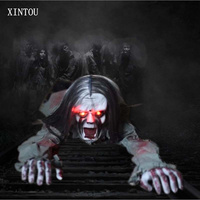 XINTOU Electric Sound Long Hair Crawl Ghost Horror Props Halloween Party DIY Decorations Halloween Bars KTV