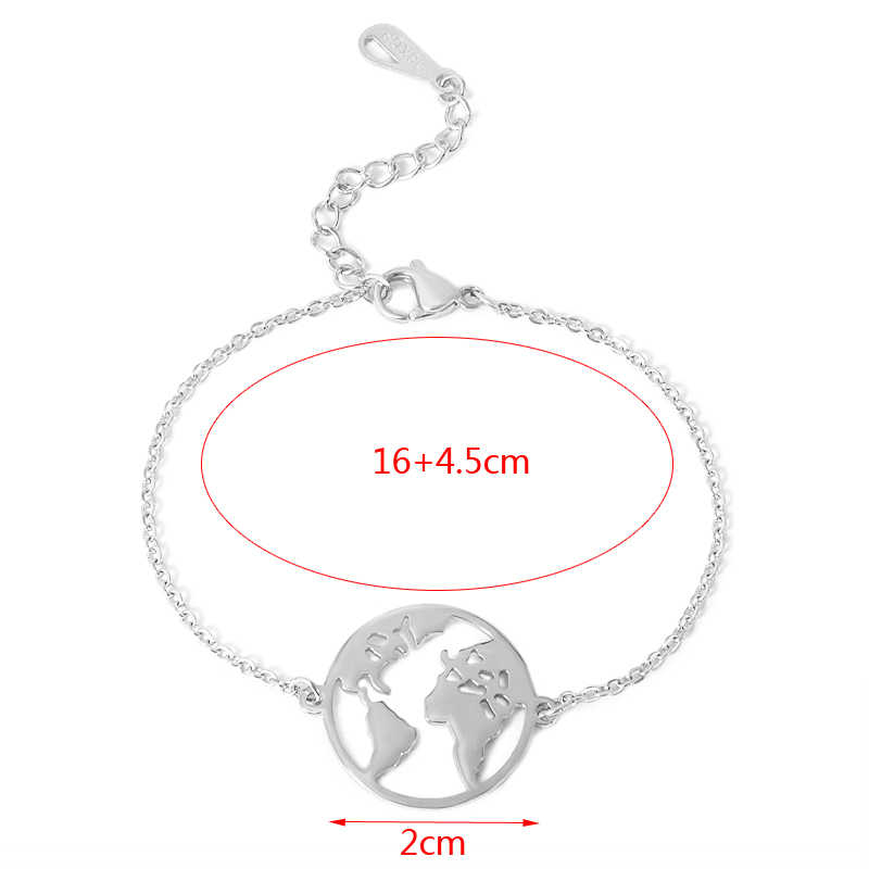 New Chain Link World Map Bracelets & Bangles For Women Couple Globe Bracelet Charm Travel Jewelry Wanderlust Earth Bracelets