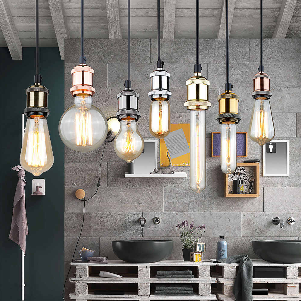 Edison base da lâmpada do vintage luz pingente e27 parafuso base de alumínio soquete luz industrial retro acessórios luminária titular