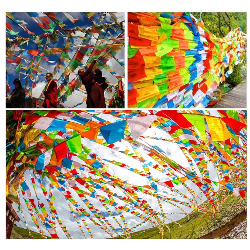 20 Stücke Gebet Flagge Künstliche Seide Schriften Streamer Tibet Lung Ta Banner Tibetischen Buddhistischen Lieferungen Farbe Druck Gute Begleiter FüR Kinder Sowie Erwachsene