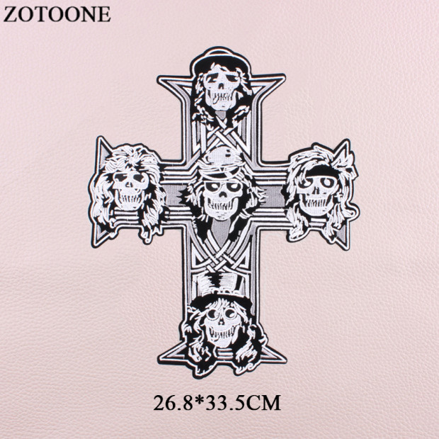 ZOTOONE Big Punk Skull Patch Embroidery Iron On large Rock cross Patches Applications For Clothes Jeans Jacket DIY Applique E