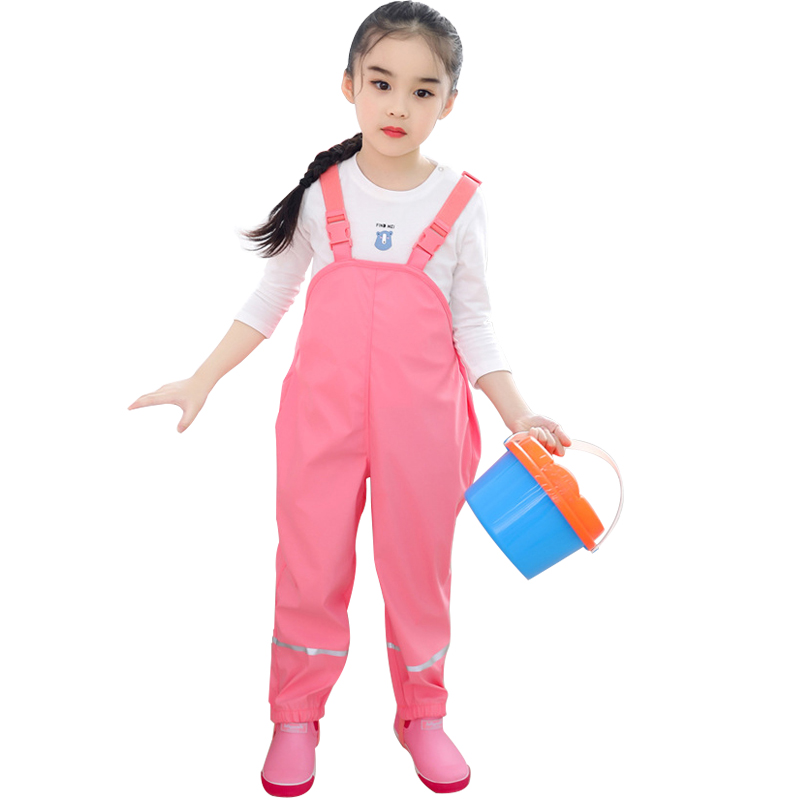 Kids Rain Pants PU Waterproof Girls Overalls Spring Boys Bib Pants Breathable Outdoor Children Punch Pant Jumpsuit Clothes