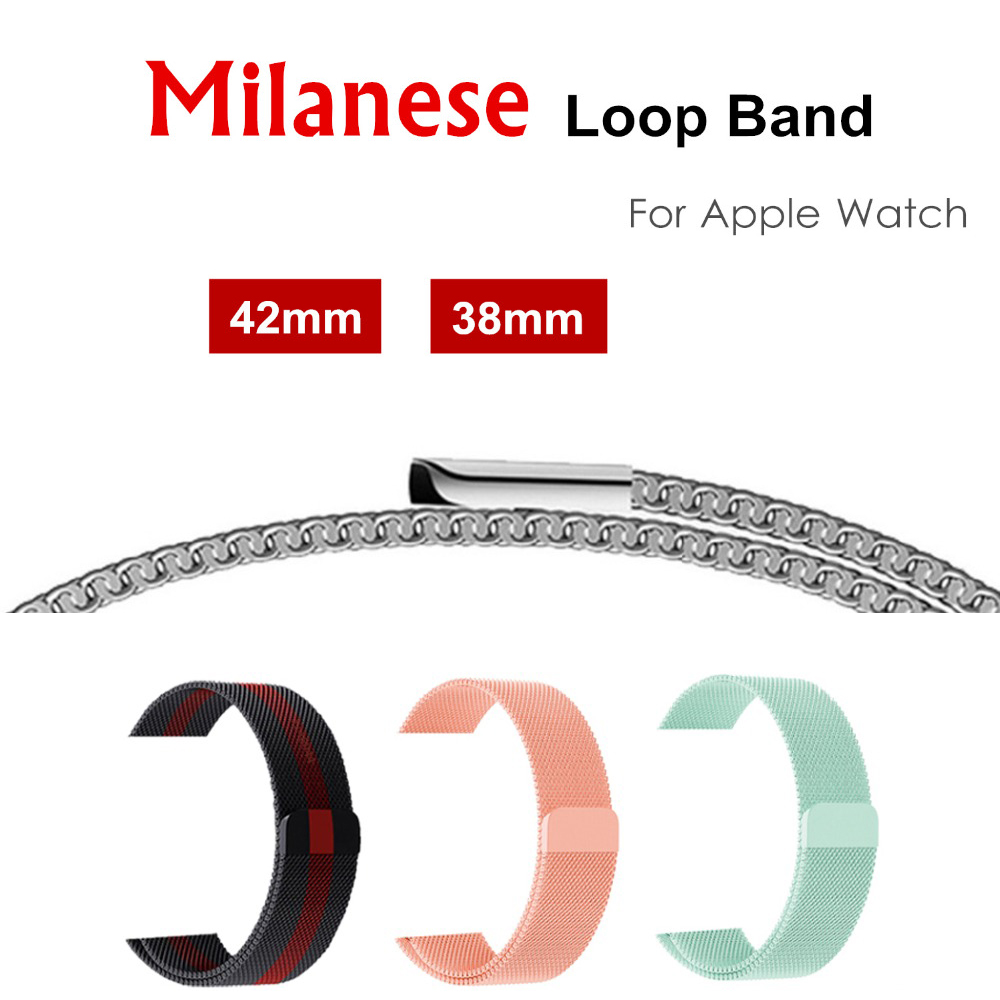 CRESTED Milanese loop bracelet for apple watch band/strap 42/38mm stainless steel metal wrist watchband for iwatch 3/2/1 belt