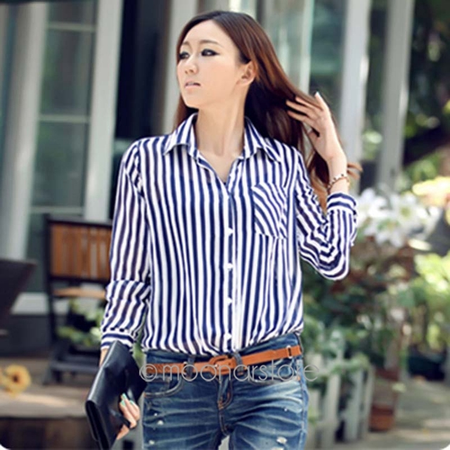 9bcf9bedfcce Women s Stripe Shirt Long Sleeve Notched Striped Shirt Summer Fashion Style  Streetwear Casual Shirt