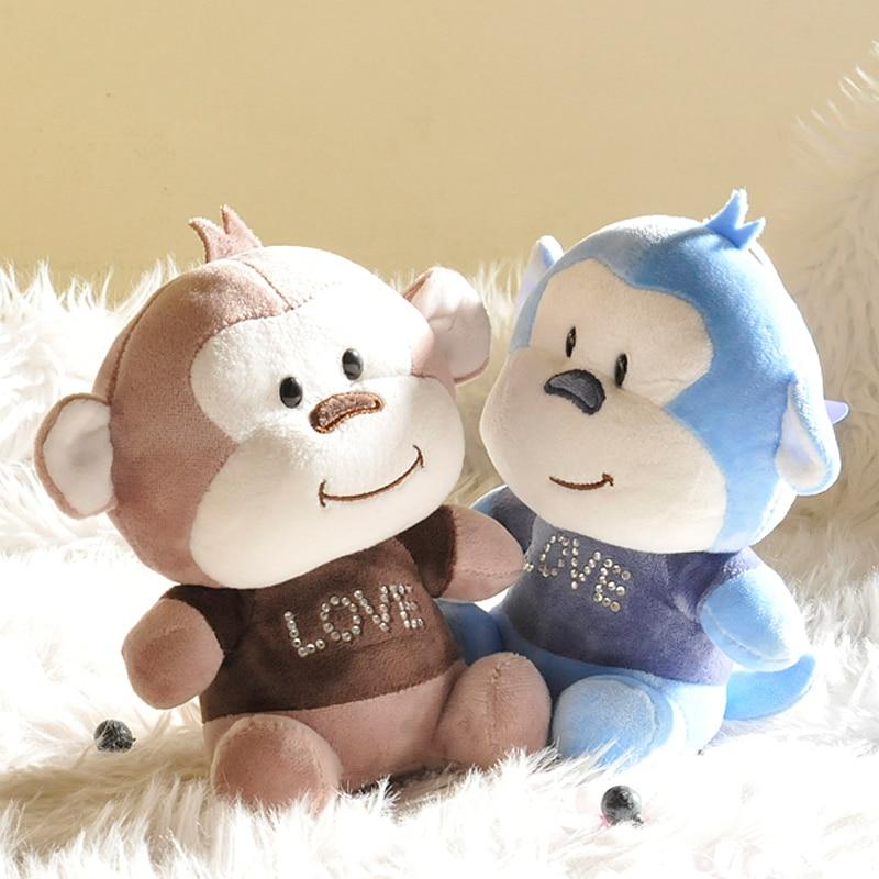 Free Shipping 20cm Stuffed Little Monkey Plush Toy 1pcs Stuffed animals cute Monkey Valentine Gift For