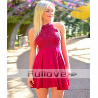 Chic Red Lace Short Prom dress 2019 Halter Appliques Formal Dresses Wedding Party Dress Bridesmaid Gown Robe De Soiree Courte