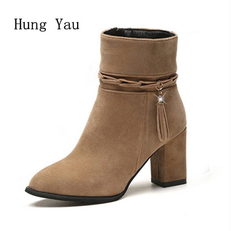 Hung Yau Ankle Boots Winter Woman Casual Shoes High Heel