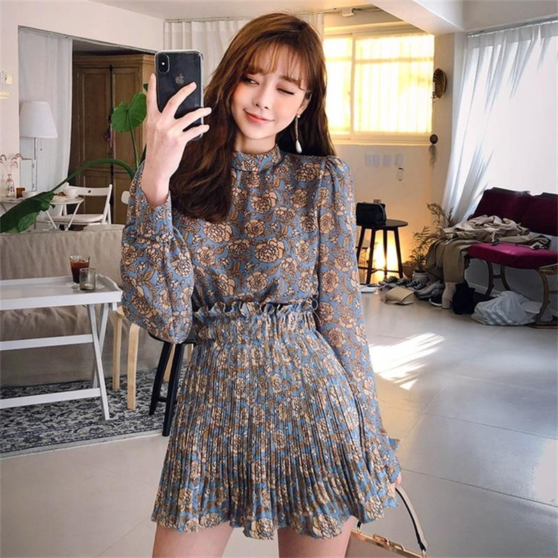 Women's Dresses Ins Girl Kawaii Ulzzang Vintage Pleated Flower Dress Shirt Female Vintage Harajuku Punk Clothes For Women Retro