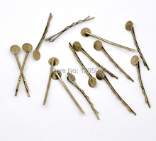 100Pcs Bronze Tone Bobby Pins Hair Clips W / Glue Pad Barrettes Jewelry Findings Charms Wholesale 4.4cm x 1.5mm