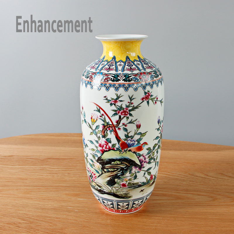 New Chinese Style Famille Rose Vase Jingdezhen Classical Porcelain
