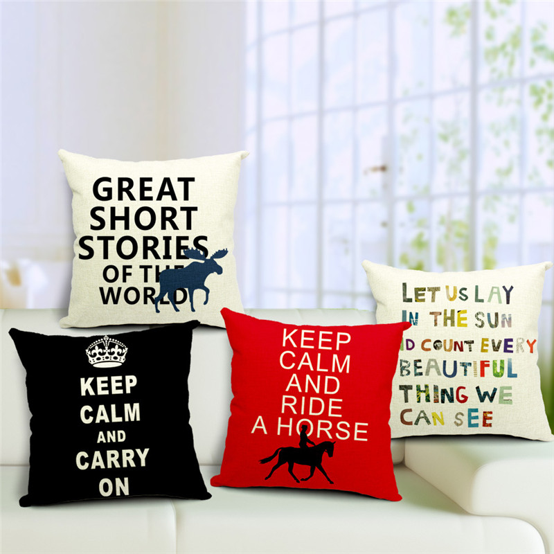 1 pcs colorful letter print decorative linen cushion covers brief words nordic cushions home decor quotes - Home Decor Quotes