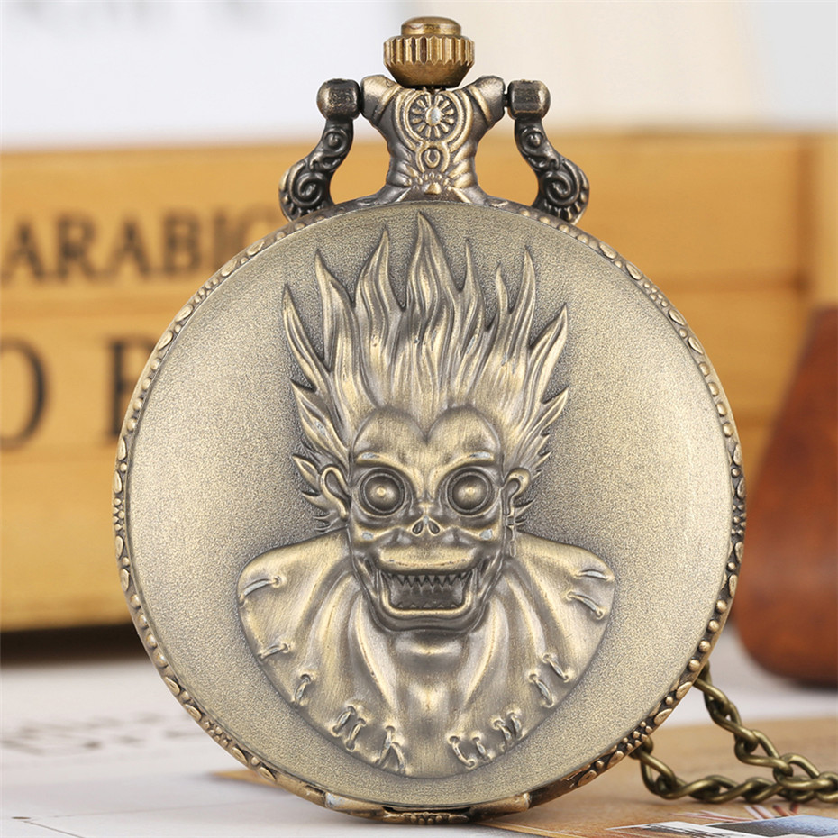 Steampunk Cool Monkey King Design Quartz Pocket Watch Bronze Pendant Clock Arabic Numerals Dial Vintage Timepiece With Chains