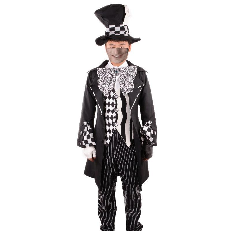 Alice in Wonderland costume adult black Mad Hatter Costume Cosplay party Halloween Costumes for Men Fantasia fancy dress custom