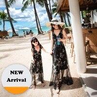 Lato Rodzina Wygląd Pasujące Stroje Matka Córka Czarny Suknie Floral Wydrukowano Czeski Styl Kostki Długość Sea Beach Dress
