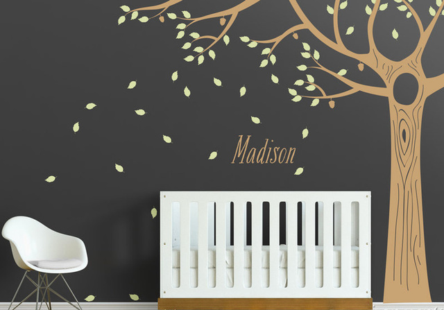 Acorn oak floor to ceiling tree wall decal custom name huge tree wall art poster baby