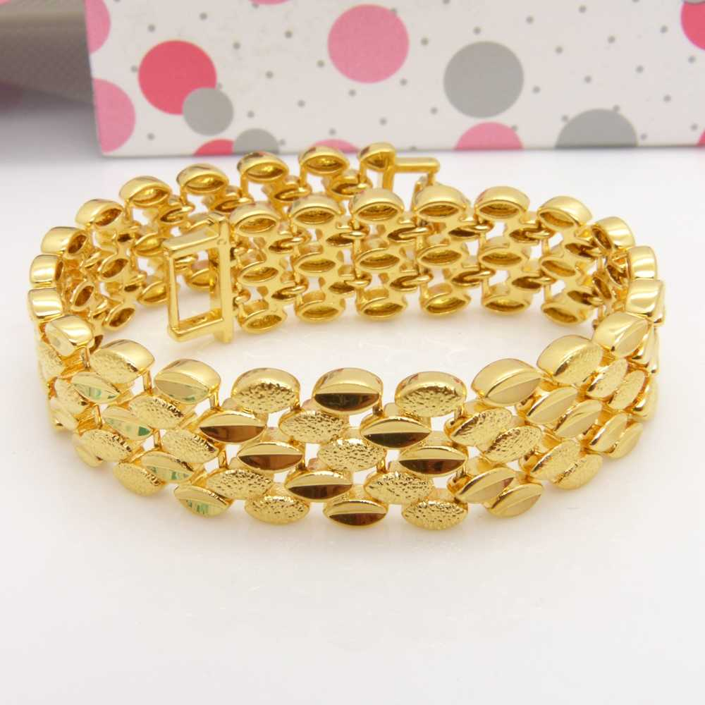 Solid  Yellow Gold Filled Wide Bracelet Wrist Chain For Women Men