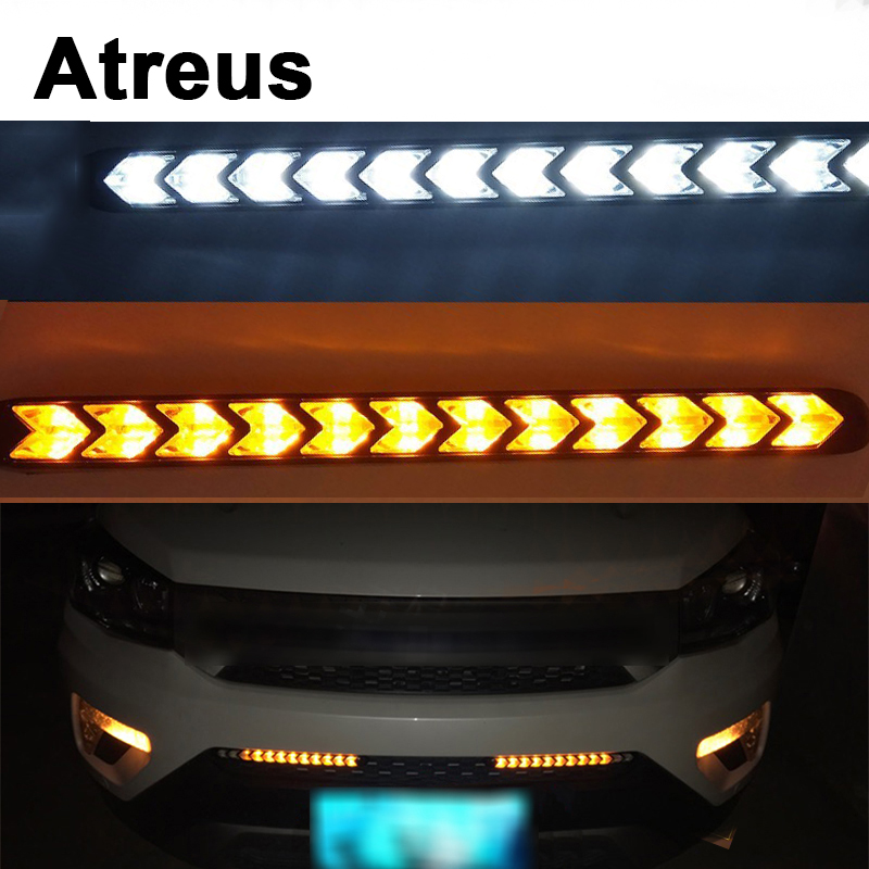 Atreus 2X Car with Yellow Steering fog Day Lights Turn Signals LED For Mitsubishi ASX Suzuki Subaru Acura Jeep Fiat 500 Hyundai atreus 1pair car led fender side turn signals