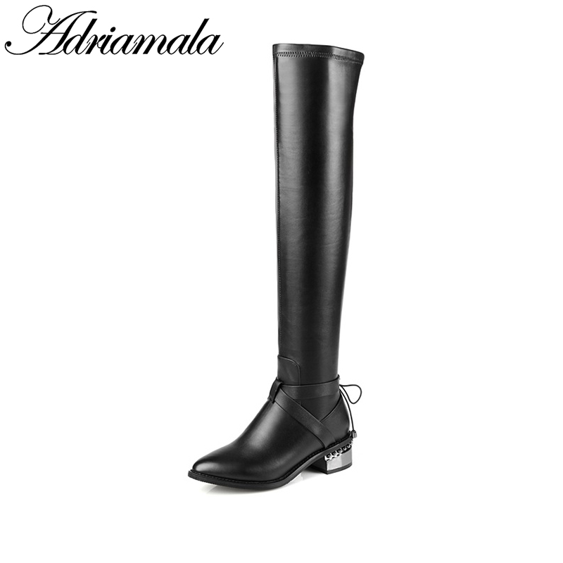 2017 Black Thigh High Long Boots For Women Brand Designer Round Toe Autumn Winter Genuine Leather Over The Knee Boots Adriamala ppnu woman winter nubuck genuine leather over the knee snow boots women fashion womens suede thigh high boots ladies shoes flats