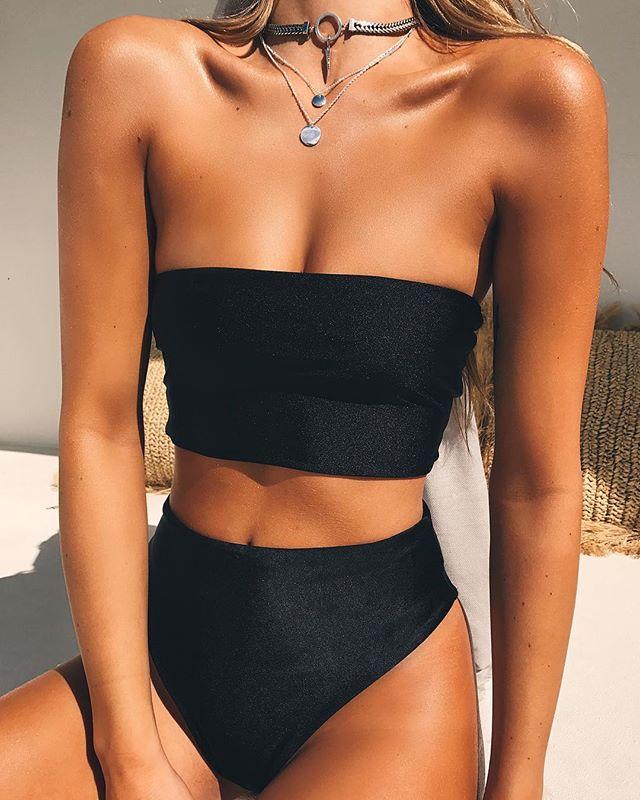 HTB1PEjpjqmgSKJjSsplq6yICpXaT High Leg Bandeau bikini set Swimwear female two pieces swimsuit High Waist Bikini Women Bathing Suit biquini