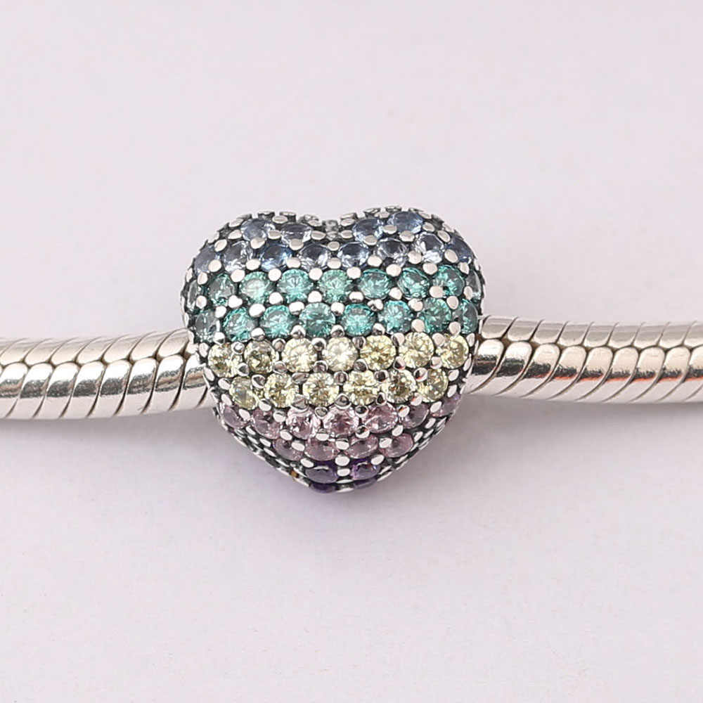 2275a8101 Detail Feedback Questions about Pave Open My Heart Clip Multi Colored CZ &  Crystals Charm Bead Fit Original Pandora Bracelet 925 Sterling Silver charms  ...