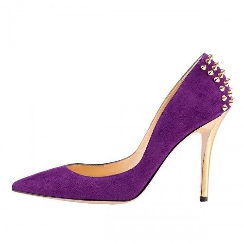 ФОТО Purple Suede Women Pumps Pointed Toe Slip On High Heel Stilettos Shoes Women Pumps Shoes Nude Bottom Shoes For Women 2016
