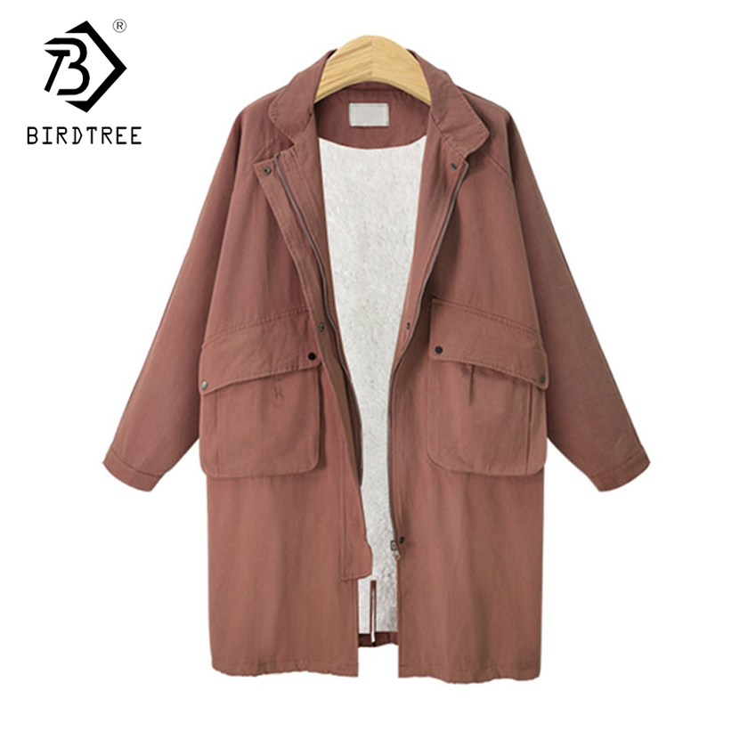 Plus 4XL 2018 Autumn New Arrival Europe Style Full Sleeve Pockets Turn-down Collar Women Zipper   Trench   Loose Tops Hots C86026L