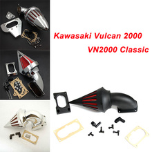 цена For Kawasaki Vulcan 2000 VN2000 Classic All years Motorcycle Air Cleaner Kit Intake Filter Black Chrome онлайн в 2017 году