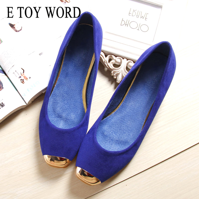 E TOY WORD large size 40-43 Women shoes square toe flats women Single shoes Korean womens suede flat boat shoes