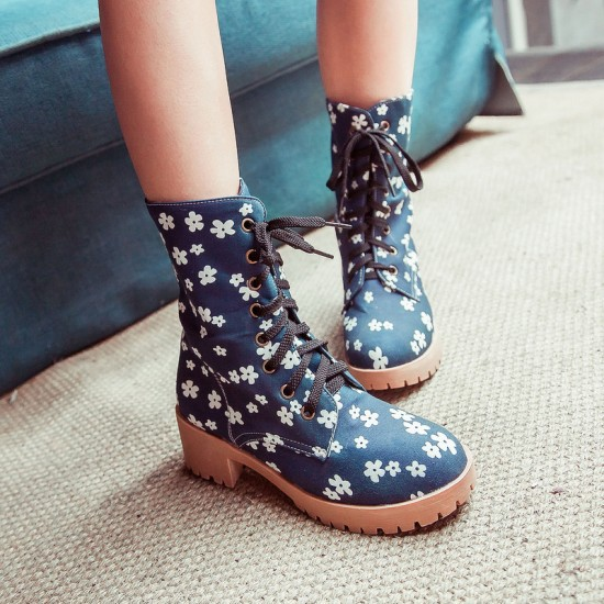Floral Combat Boots Cheap - Yu Boots