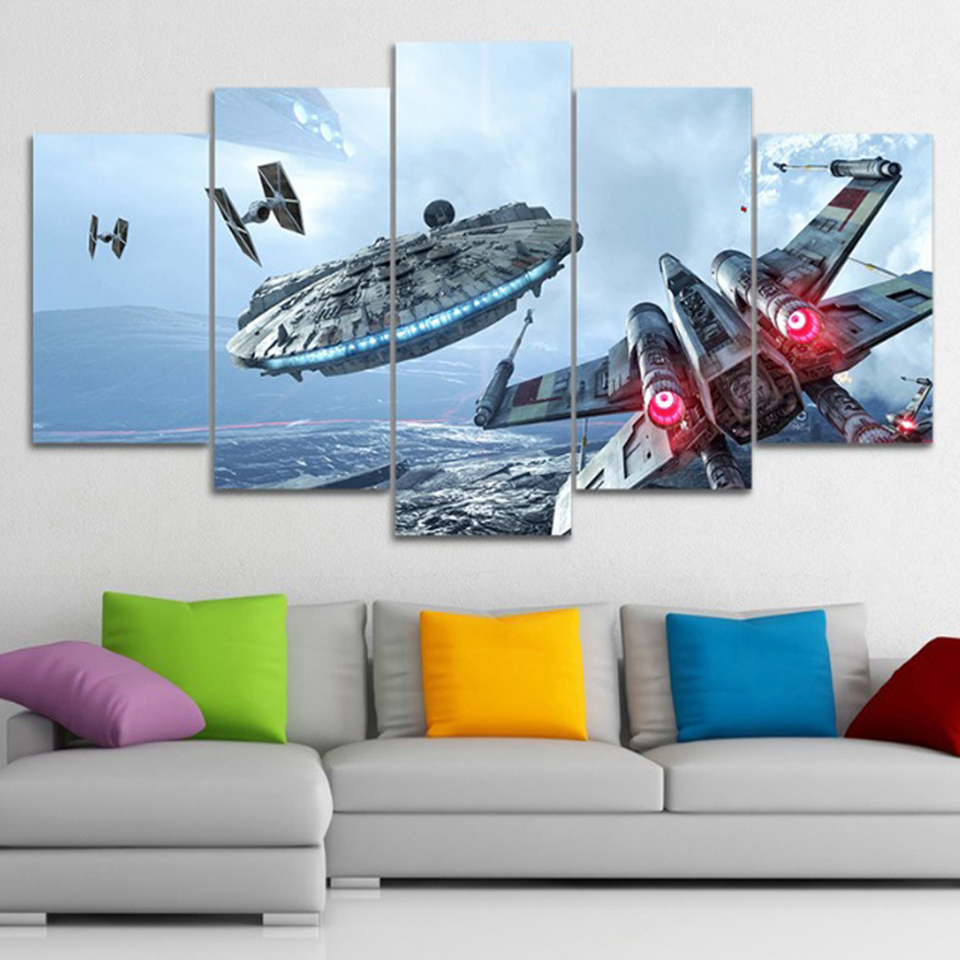 Wall Art Canvas Framework Prints Millennium Falcon Pictures 5 Pieces Star Wars Movie Posters HD For Living Room Decor Paintings