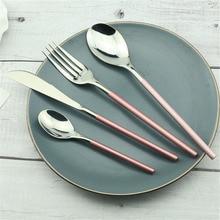 4PCS Elegant Pink Cutlery Set 304 Stainless Steel Dinner Knife Spoons Forks Dinnerware Sets Dessert Spoon Kitchen Accessories