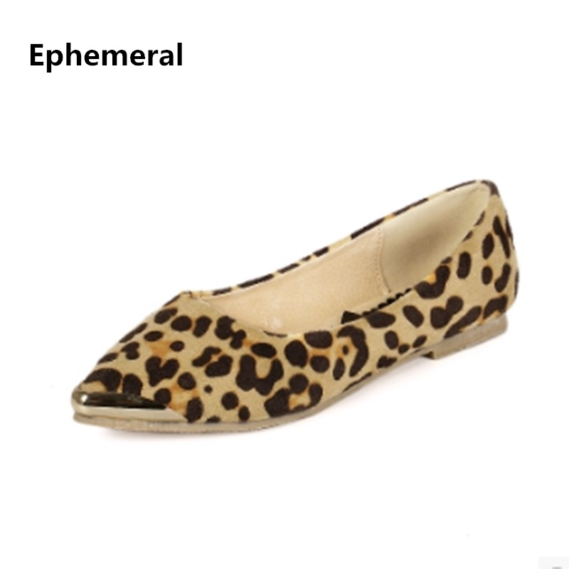 Lady's Leopard Printed Fashion Hot Sale Pointy Toe Glitter Sequined Plus size 34-42 Low Top Women Single Shoes Leisure Slip-Ons цена