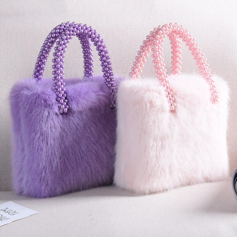 Ins streetwear saco moda pérolas bolsa feminina 2019 novas meninas de luxo sacos de pele do falso doces macios caixa cor sacos festa femme - 4