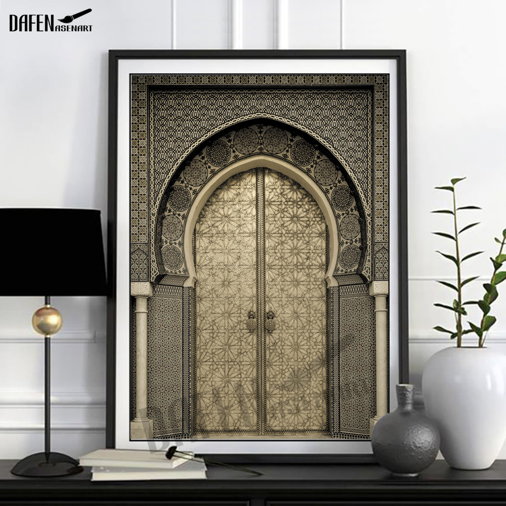 Modern Waterproof 3D Door View Canvas Painting Wall Art Artwork Pictures For Living Room Wall Picture Poster And Print Painting