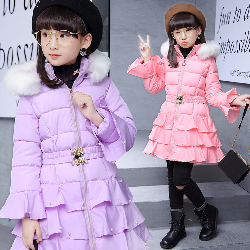 Girl jacket long coat princess fashionable lovely sweet cute cotton padded 2017 new winter for 5 6 7 8 9 10 11 12 13 years kid free shipping winter girl stripe cute doll skirt cotton quilted jacket