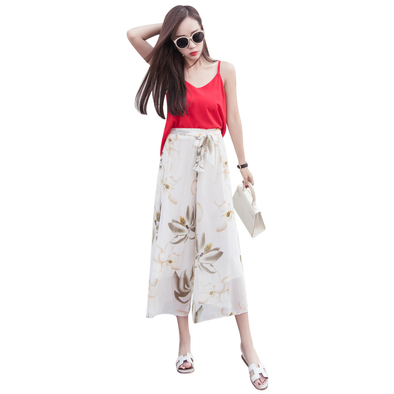 22 Colors   Pants   Women Summer Costume Chiffon   Wide     Leg     Pants   Printed Loose Thin Cropped trousers Chiffon   Pants   Skirt Female