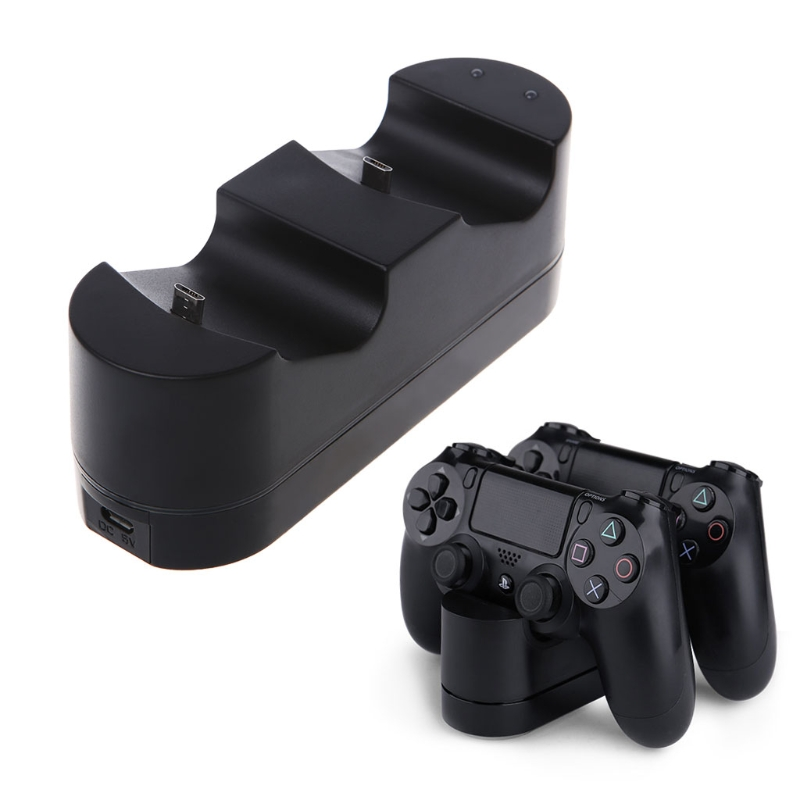 OOTDTY Controller Charging Station For Playstation Dualshock 4 Dual USB Charger Ports