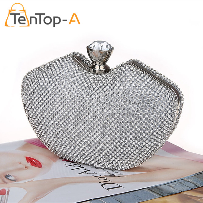 ФОТО TenTop-A Mini Bags Women's Full Side Diamond Evening Bag Peach Heart Shape Crystal Clutch Handbag Purse 3Color Gold/Black/Silver
