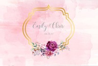 custom Pink And Gold Floral backdrop High quality Computer print wedding photography backgrounds