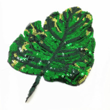 2pc 22x42cm Sew On Sequin Beaded Leaf Patch Applique Patches For Clothing Dress Appliques Parches Bordados Ropa AC0898