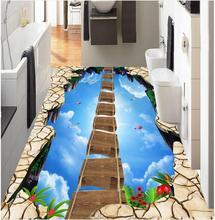 3d floor painting wallpaper Walkway Showroom Sky Suspension Wooden Bridge 3D Floor pvc self-adhesive wallpaper