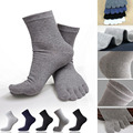 Hot Selling One Pair Male Mens Socks Five Fingers Socks Separated Toes Cotton Solid Comfortable Soft Casual Ankle S1558