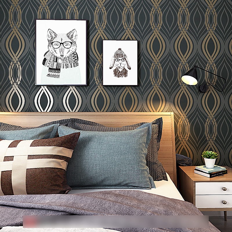 Black Grey Gold Geometric Wallpaper Modern Black White Wall Paper