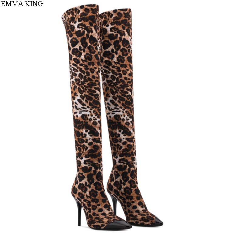 EMMA KING 2018 New Spring Autumn Sexy High Heels Boots Woman over the Knee Flock Leopard Evening Party Zipper Pointed Toe BootsEMMA KING 2018 New Spring Autumn Sexy High Heels Boots Woman over the Knee Flock Leopard Evening Party Zipper Pointed Toe Boots
