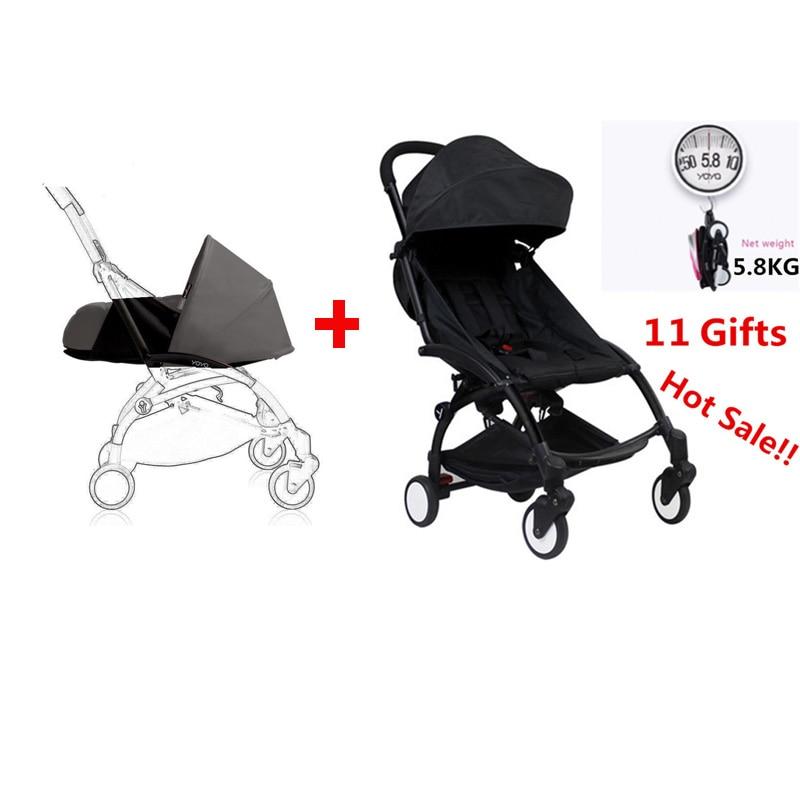 100% Original baby yoya Stroller + newborn nb nest trolley poussette Folding baby Carriage bebek arabasi Babyzen Yoyo Stroller