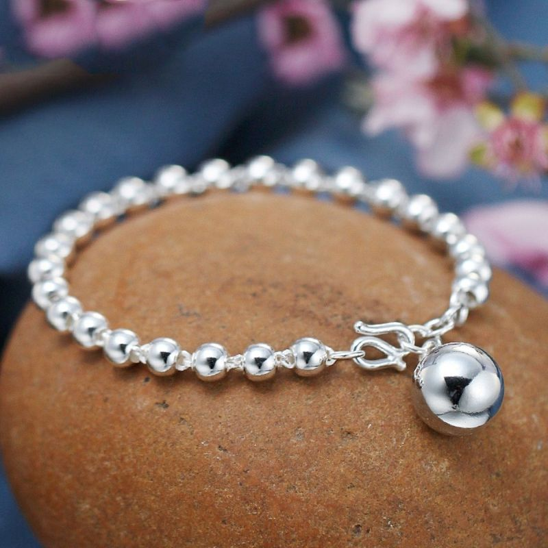 Bracelet femme authentique en argent Sterling avec boule lisse + chaîne de perles rondes de 5mm