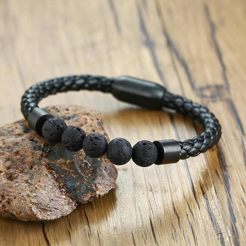 """Vnox панк браслеты с лавовыми бусинами из натурального камня для мужчин Черная веревка из натуральной кожи 8,26 """"pulseira masculina"""