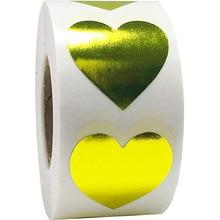 В форме сердца золотистые наклейки этикетки для печати 500 этикетки наклейки s Скрапбукинг для упаковки и Свадебные украшения стикер для канцелярских товаров