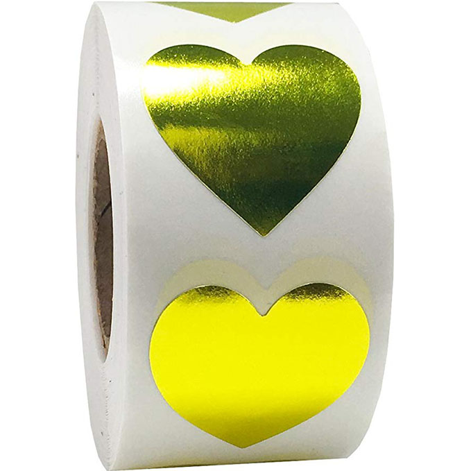 Heart Shape Of Gold Stickers Seal Labels 500 Labels Stickers Scrapbooking For Package And Wedding Decoration Stationery Sticker