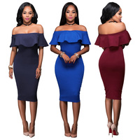 Europe And America Style Women Sexy Dress Ruffles Slim Bandage Dress Solid Elegant Evening Midi Dress